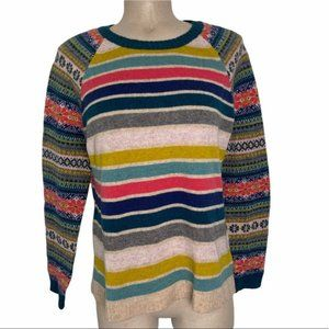 HEYTON Women's 100% Merino Wool Colorful Striped Crewneck Pullover Sweater Large